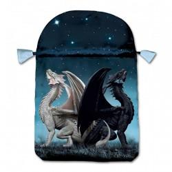 Pochette pour points de vie, cartes, en satin deux dragons