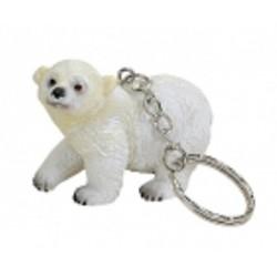 Figurine porte-clef ours polaire avec patte légèrement soulevée