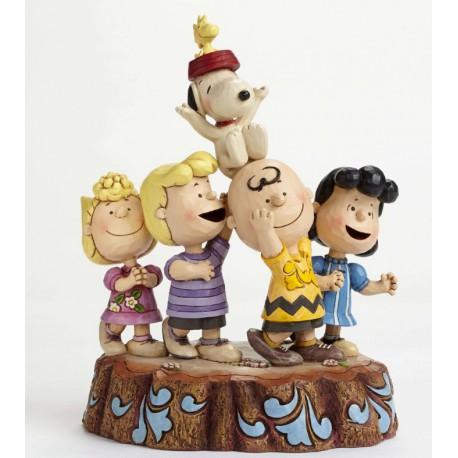 Figurine jim shore peanuts hooray ! 65th anniversary - charlie et snoopy hourra !