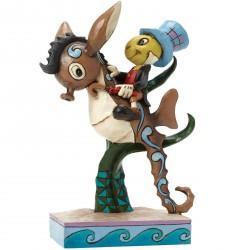 Figurine Disney Tradition Jiminy Cricket à cheval sur l'hippocampe - Jiminy Cricket on sea horse