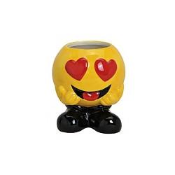 Mug en céramique émoticon sur pieds avec les yeux en forme de coeur