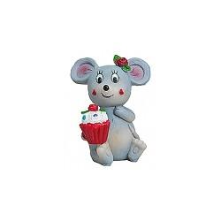 Figurine résine souris grise avec un cupcake dans les mains