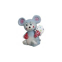 Figurine résine souris grise avec une glace dans la main