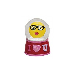 Figurine émoticon avec lunette dans boule à paillettes