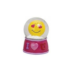 Figurine émoticon avec les yeux en forme de coeur dans boule à paillettes