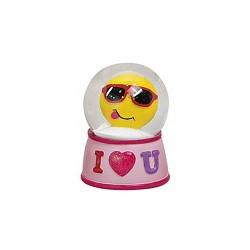 Figurine émoticon avec lunette de soleil dans boule à paillettes