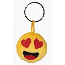 Porte-clé Emoticon en peluche avec les yeux en coeur