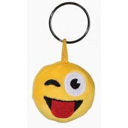 Porte-clé Emoticon en peluche qui fait un clin d'oeil