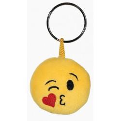 Porte-clé Emoticon en peluche avec un coeur sur la joue