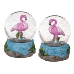 Figurine flamant rose dans une boule à paillettes