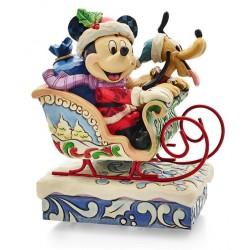 Figurine Disney Tradition boite à musique Mickey et Pluto en traineau
