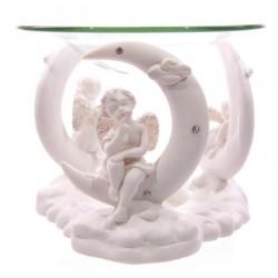 Figurine anges blanc assis sur la lune - brûle-parfum