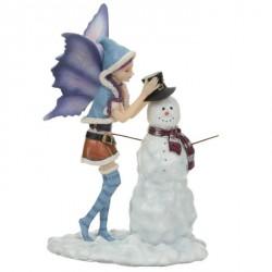 Figurine Fée de Noël avec bonhomme de neige