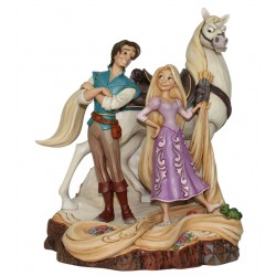 Figurine Disney Tradition Raiponce, Flynn et Maximus Woodcarved - Live your Dream