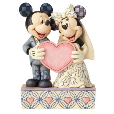 Figurine Disney Tradition Mickey et Minnie le mariage de deux âmes et un  coeur