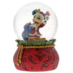 Figurine Disney Tradition Mickey Noël dans boule à paillettes - Bringing Holiday Cheer Waterball