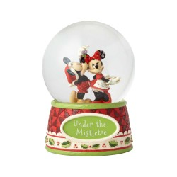 Figurine Disney Tradition Mickey et Minnie sous le Gui dans boule à paillettes - Under The Mistletoe Waterball