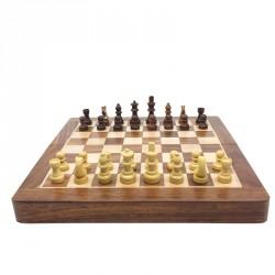 Jeu d'échecs pliant magnétique marqueté, 18 cm