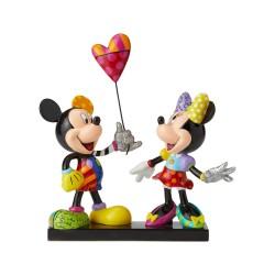 Figurine Disney Britto Mickey et Minnie avec ballon en forme de coeur