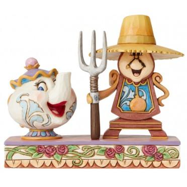 Figurine Disney Tradition Mme Samovar et Big Ben - Cogsworth and Mrs Potts