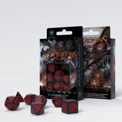 Set de 7 Dés Dragon Noir et Rouge
