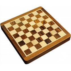 Jeu d'échecs pliant magnétique marqueté, 17 cm - Bois Patiné
