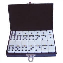 Domino double 6 couleur ivoire dans malette
