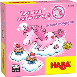 Jeux de société super mini - Licornes dans les nuages – Mémo magique
