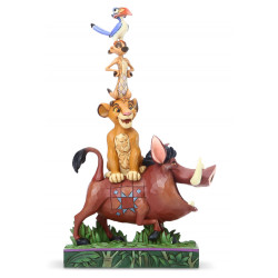 Figurine Disney Tradition Pumbaa, Simba, Timon et Zazu qui font une Tour