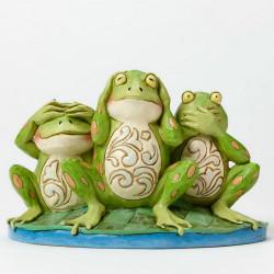 Figurine Jim Shore Grenouilles de la Sagesse - See No Evil, Hear No Evil, Croak No Evil