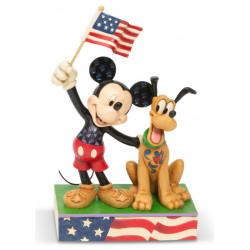 Figurine Disney Tradition Mickey et Pluto - Mickey and Pluto Patriotic
