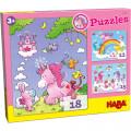 Puzzles HABA : Occasion - Licornes dans les nuages - 12, 15 et 18 Pièces