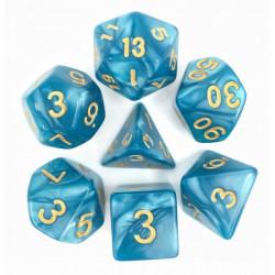 Set de 7 Dés - Bleu nacré et or