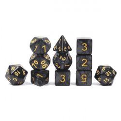 Set de 11 Dés - Noir nacré et or
