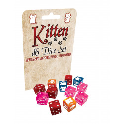 Set de 12 dés 6 faces Kitten Dice Chats 15 mm