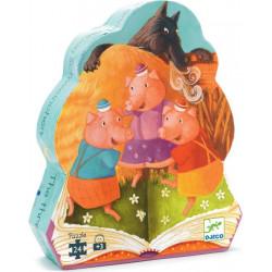 Puzzle Djeco silhouette - Les trois petits cochons - 24 pièces