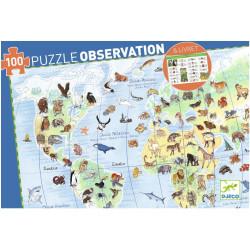 Puzzle Djeco Observation - Les animaux du monde - 100 pièces