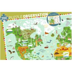 Puzzle Djeco Observation - Tour du monde + Livret - 200 pièces