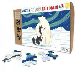 Puzzle Michèle Wilson : Oliver Lake - L'Ours et le Husky - 80 Pièces