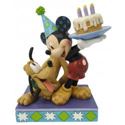 Figurine Disney Tradition Mickey l'anniversaire de Pluto