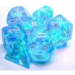 Set de 7 Dés Borealis Polyhedral Sky Blue/White Luminary