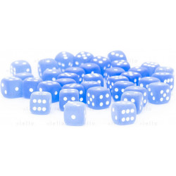 Set de 36 dés 6 faces Frosted 12 mm Bleu/Blanc Dice Block