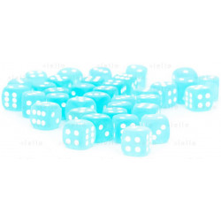 Set de 36 dés 6 faces Frosted 12 mm Sarcelle/Blanc Dice Block