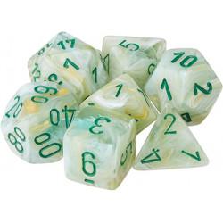 Set de 7 Dés Marble Vert