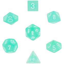 Set de 7 Dés Frosted Polyhedral Sarcelle/Blanc