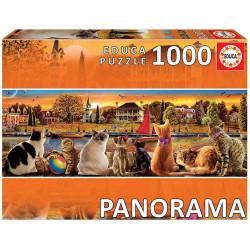 Puzzle Educa : Chats sur le quai Panorama - 1000 Pièces