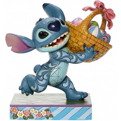 Figurine Disney Tradition Stitch avec son panier d'oeufs de Pâques - Stitch running of with Easter