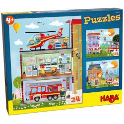 Puzzle HABA - Ma Petite Caserne de Pompiers - 3 x 24 Pièces