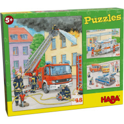 Puzzle HABA - Véhicules d'intervention - 3 x 48 Pièces