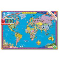 Puzzle carte du monde - 100 pièces